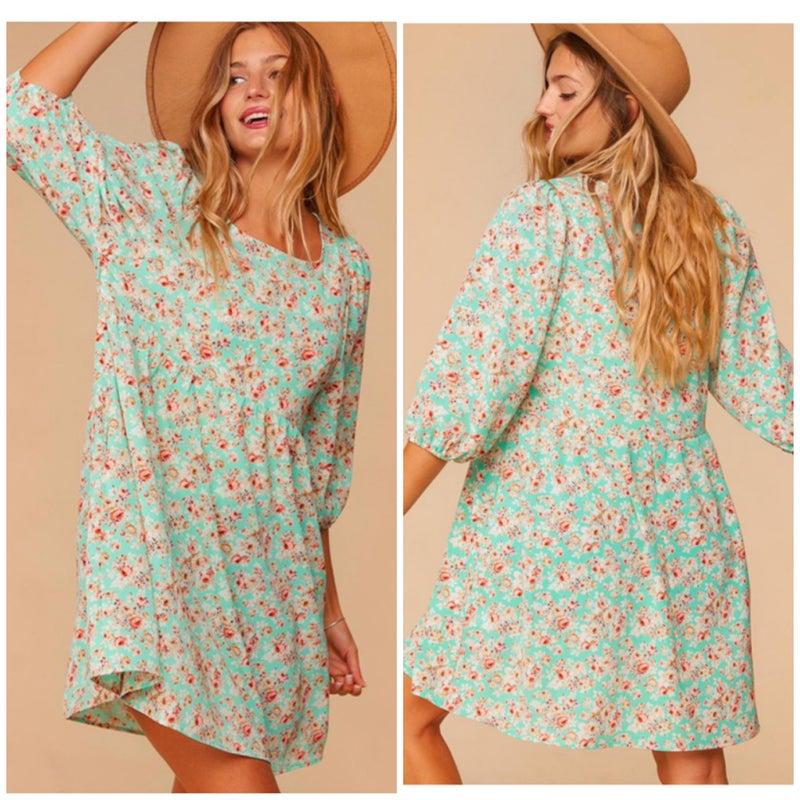 Mint Bubble Sleeve Floral Dress