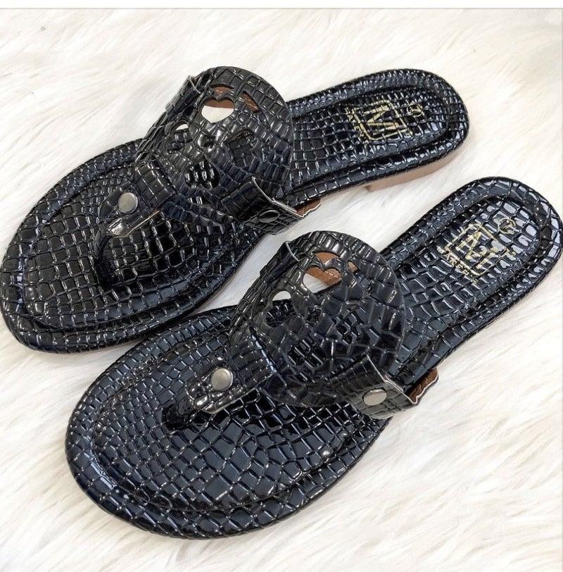 FINALSALE Black Croc Sandal