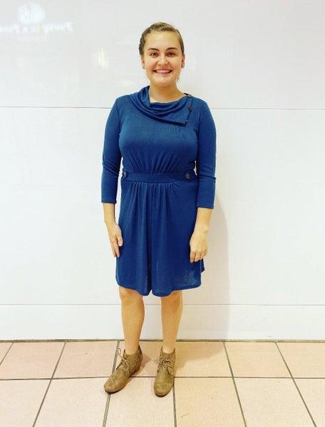 FINAL SALE Teal Button Cowl Neck Dress