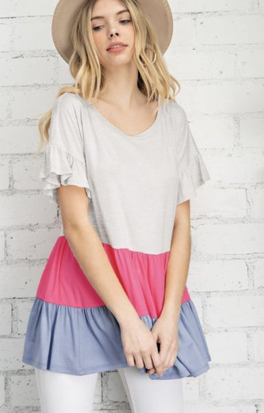 Gray Color Block Ruffle Sleeve Top