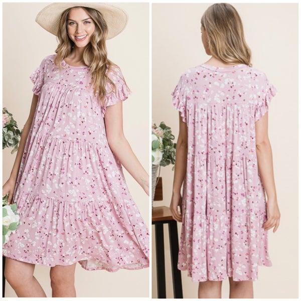 Pink Printed Tiered Dress