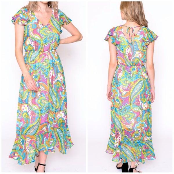 FINALSALE Pink Paisley Ruffle Dress