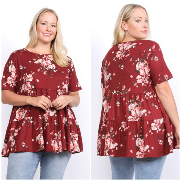 Wine Floral Tiered Top