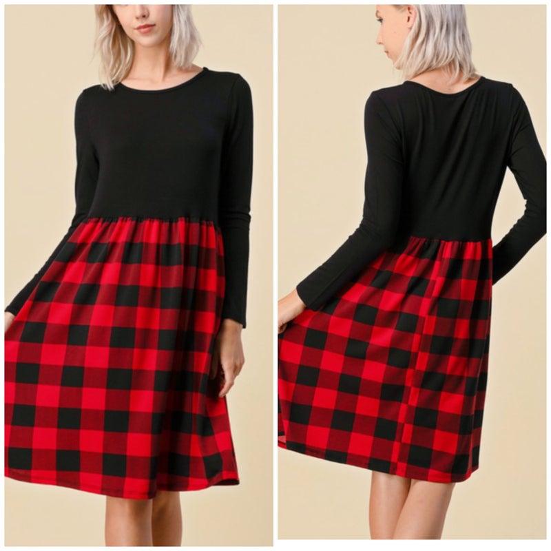Red Buffalo Plaid Pocket Dress
