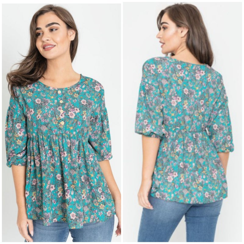 Teal Button Floral Top