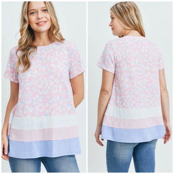 Pink & Blue Animal Print Top