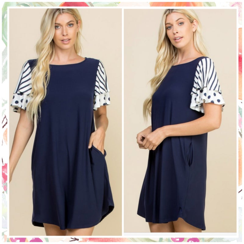 FINAL SALE Navy Polka Dot Striped Ruffle Sleeve Dress