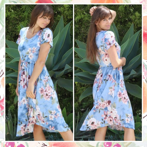 Blue & Blush Floral Dress