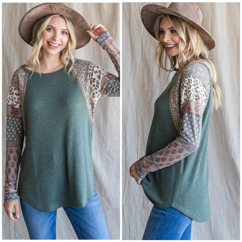 Olive Color Block Print Sleeve Top