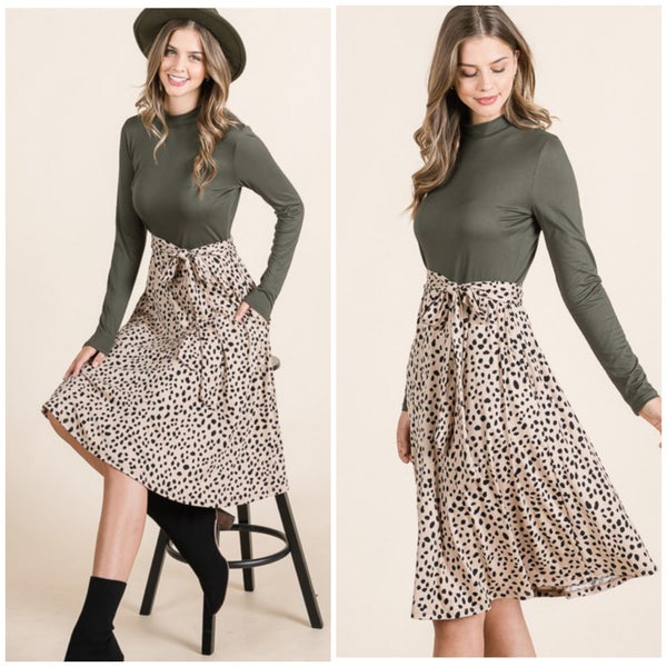 Olive Animal Print Dress