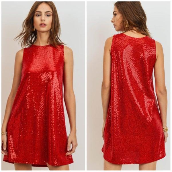 FINAL SALE Red Sleeveless Sequin Dress