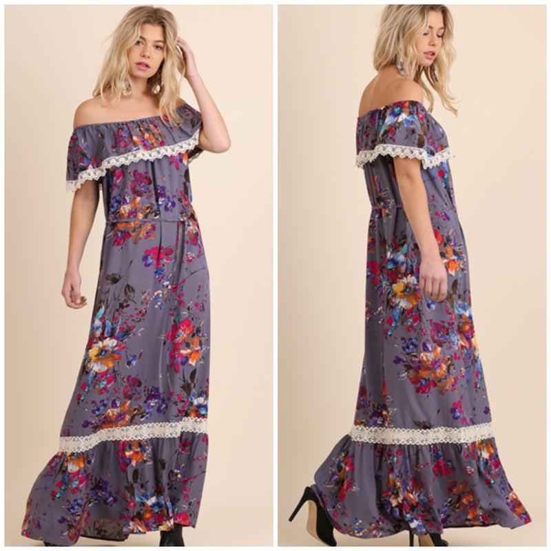 Umgee Lavender Floral Maxi Dress