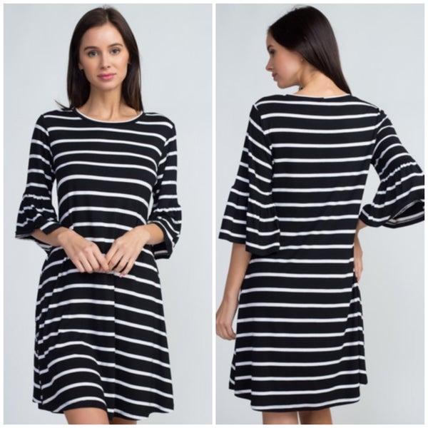 Black Striped Ruffle Sleeve Dress