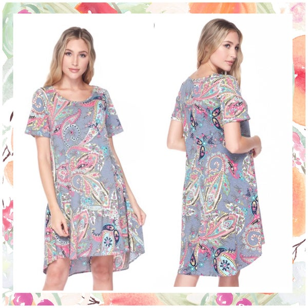 FINAL SALE Charcoal Multi Paisley Pocket Dress
