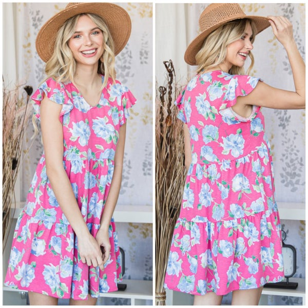 Pink Floral Tiered Tunic Dress