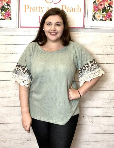 Sage Animal Print Lace Sleeve Top