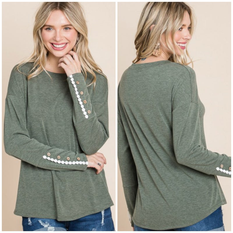 Olive Lace Trim Button Sleeve Top