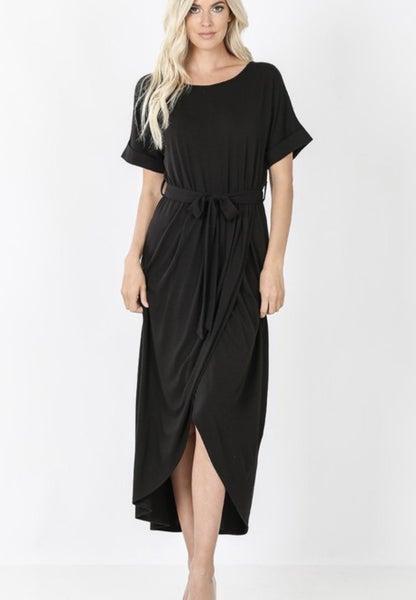 Black Belted Tulip Dress