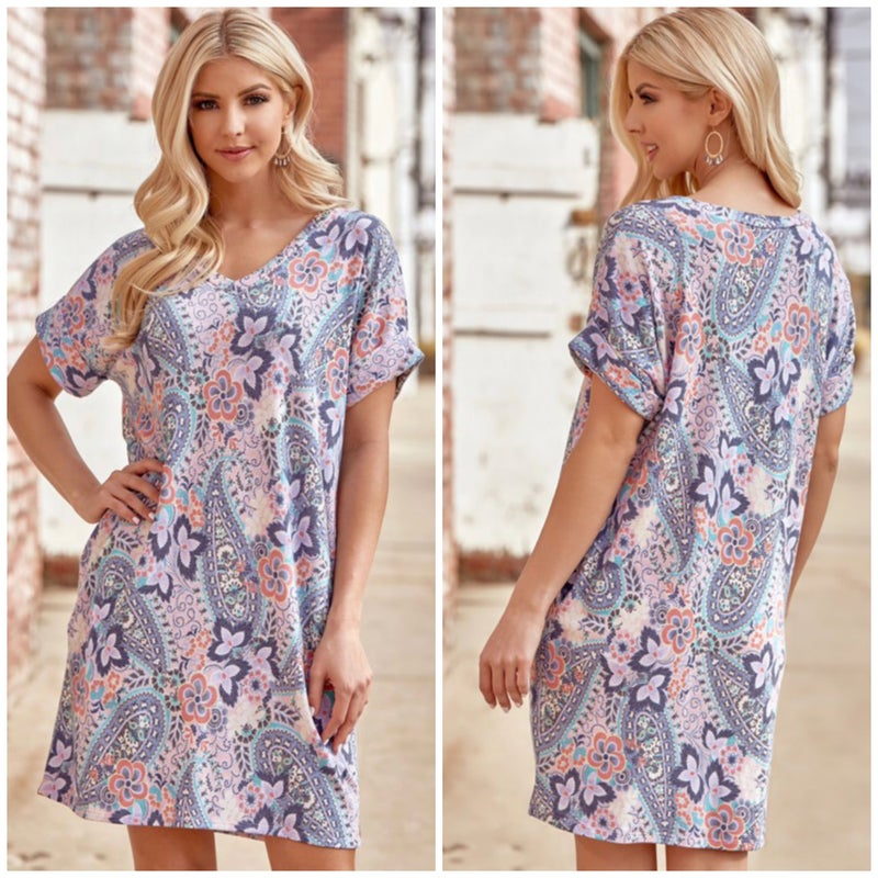 Blue Multi Paisley Pocket Dress