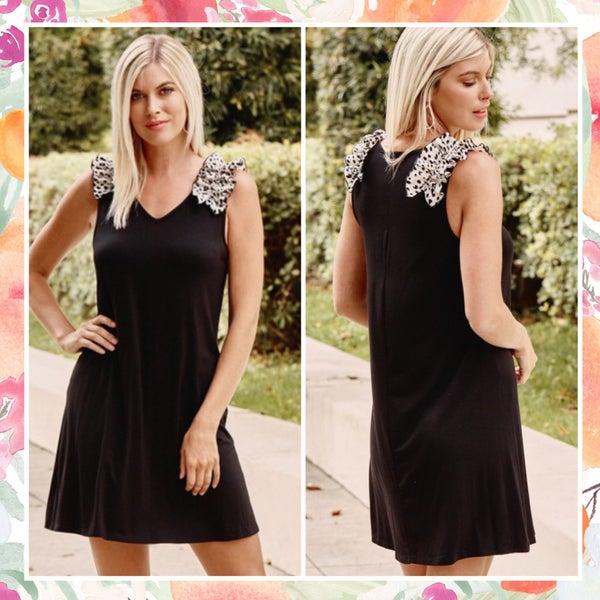 Black Animal Print Ruffle Tank Dress