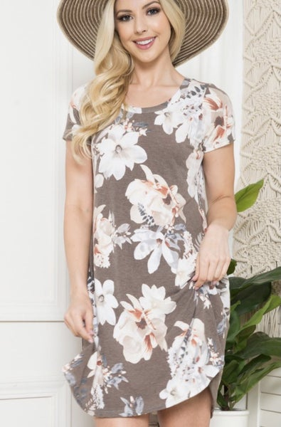 Brown Floral Tunic Dress