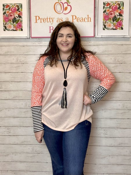 Pink Animal Print Striped Sleeve Top
