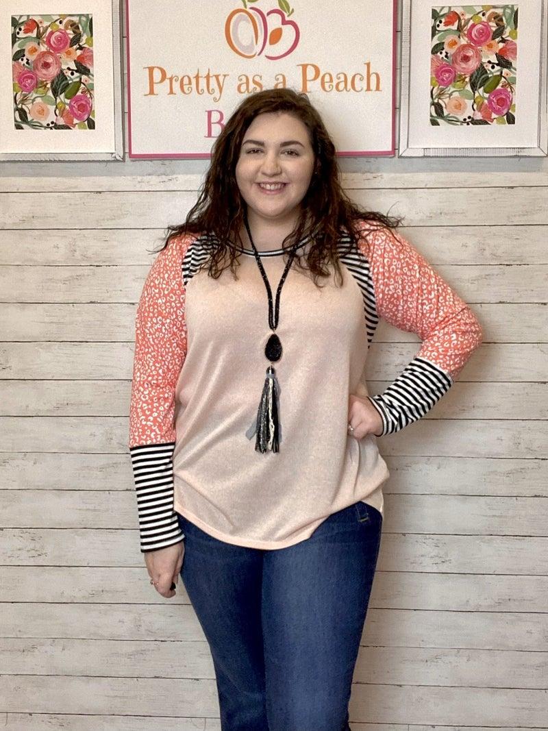 Pink Animal Print Striped Sleeve Top