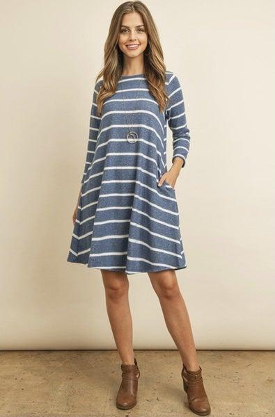 Blue Striped Pocket Dress