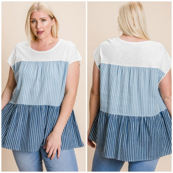 Blue & White Striped Tiered Top