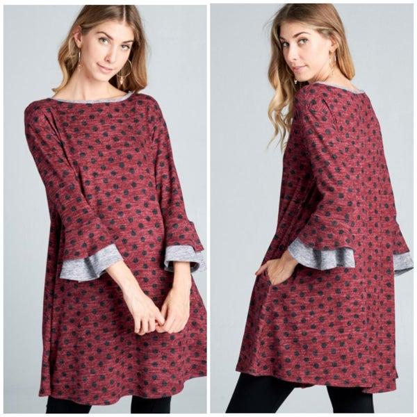 Wine Polka Dot Pocket Dress