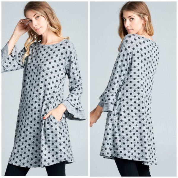 Gray Polka Dot Pocket Dress