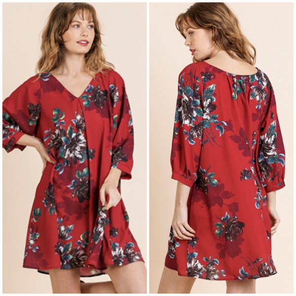 Umgee Red Floral Tunic Dress
