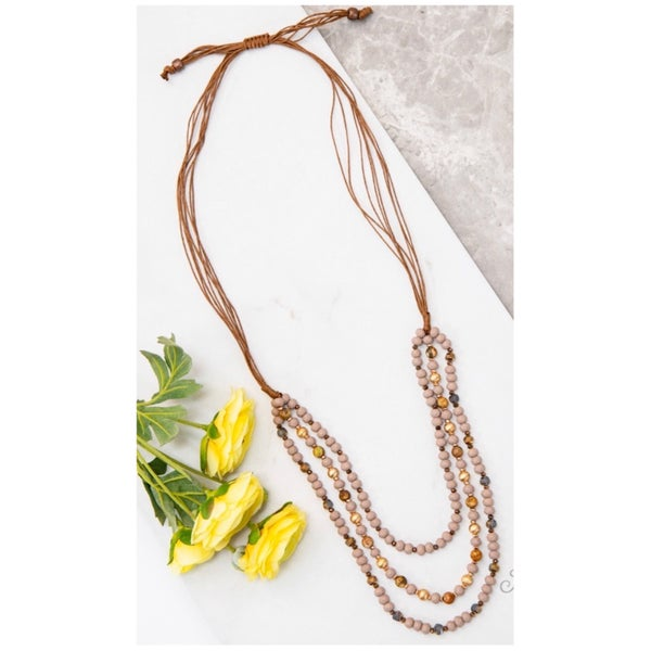 Brown Braided Leather Layered Beaded Necklace