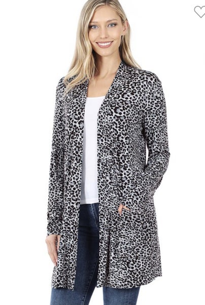 DEAL OF THE DAY Gray Animal Print Cardigan