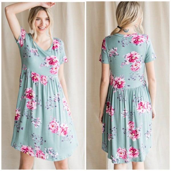 Sage Floral Babydoll Dress