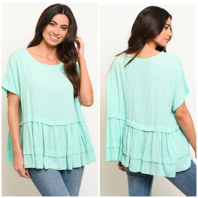 Mint Dot Tiered Top