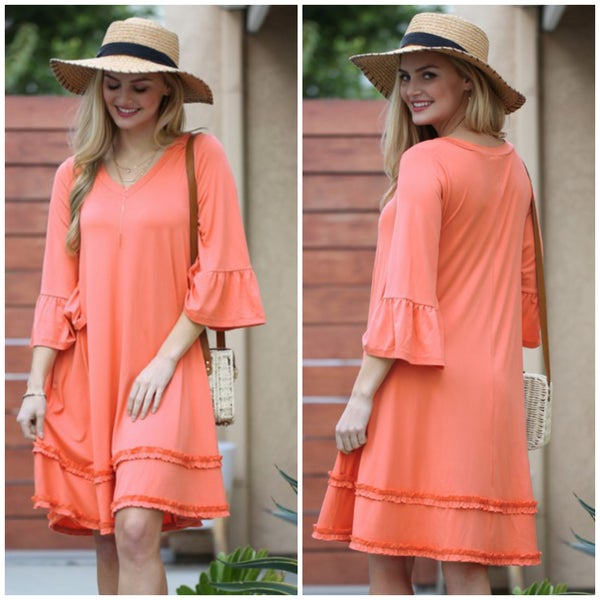 Coral Tiered Ruffle Sleeve Dress