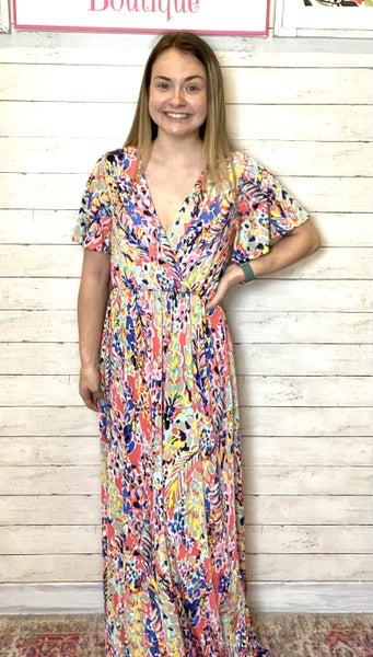 Coral Multi Floral Wrap Top Maxi Dress