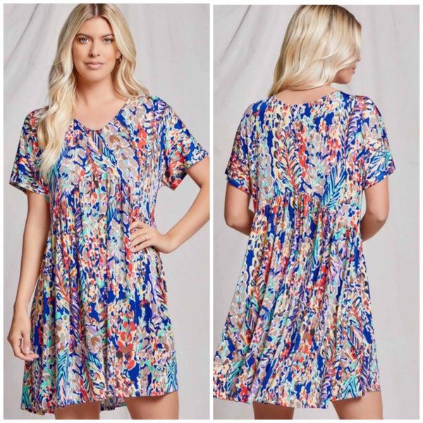 Royal Blue Floral Babydoll Dress