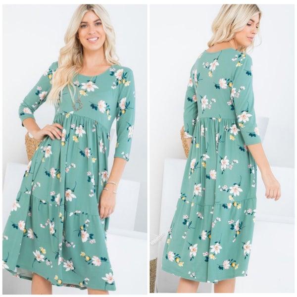 Sage Floral Tiered Midi Dress