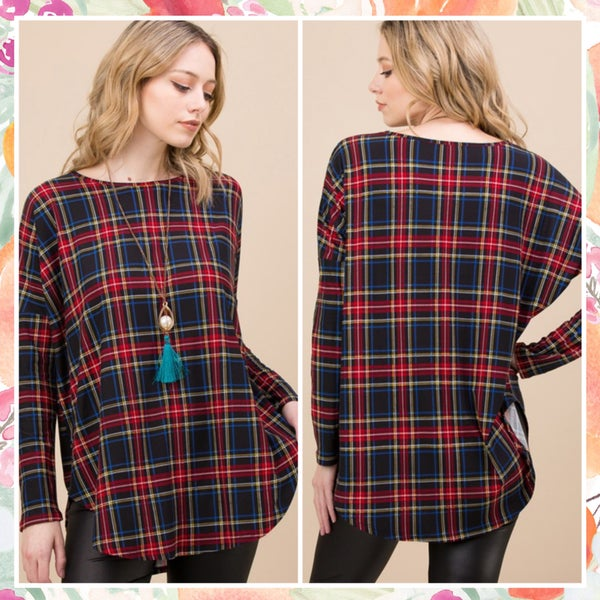 FINAL SALE Tartan Plaid Top