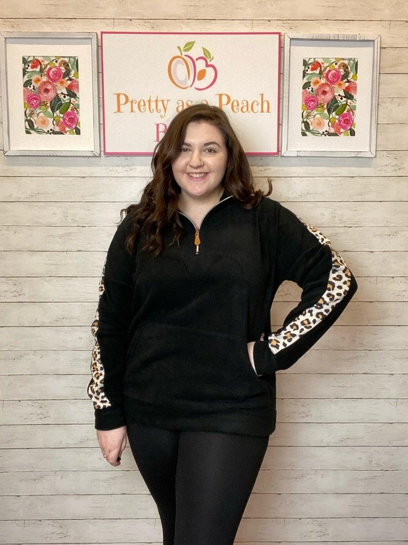Black Leopard Half Zip Pullover
