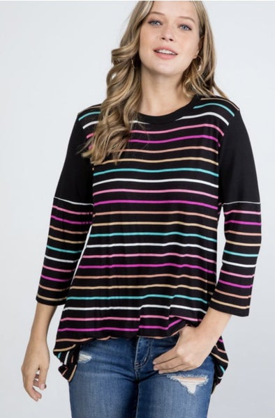 Black Multi Striped Top