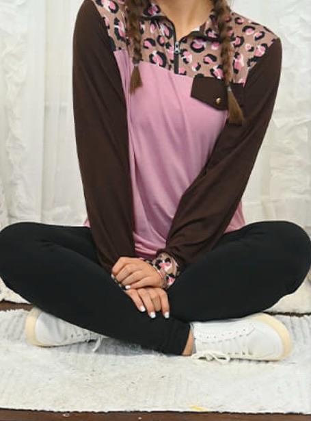 Pink & Brown Leopard Half Zip Pullover