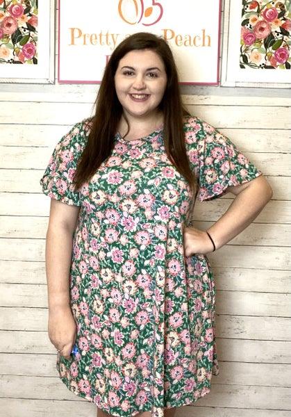 Green Floral Flutter Sleeve Pocket Dress