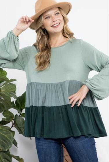 Olive Tiered Ruffle Top