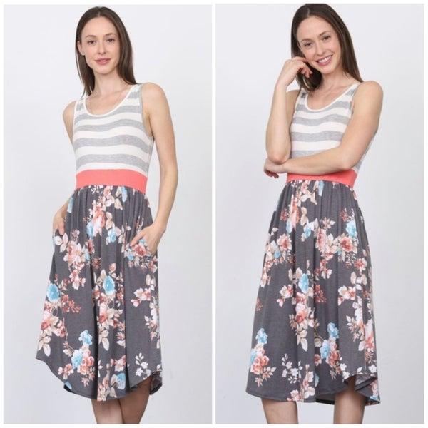LAST CHANCE FINALSALE Gray Striped Floral Pocket Dress