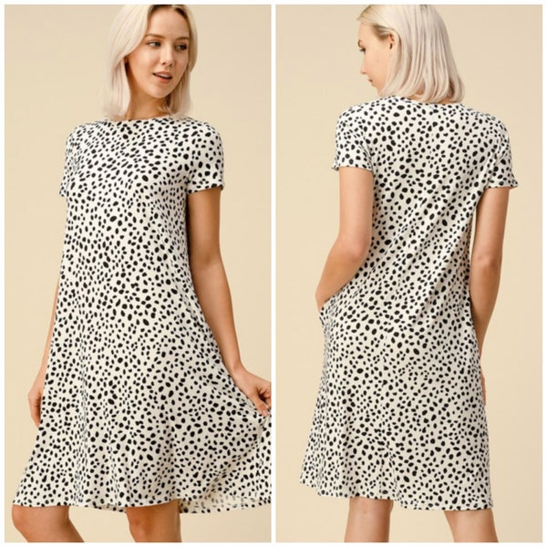 White & Black Dalmatian Pocket Dress