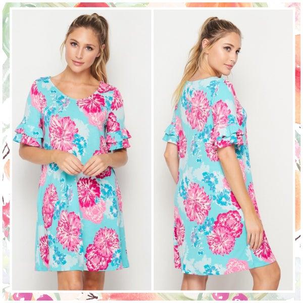 FINALSALE Mint & Pink Floral Ruffle Sleeve Dress