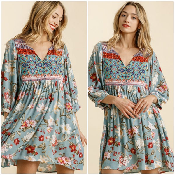 Umgee Blue Floral Print Dress